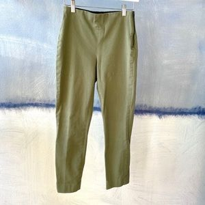 Everlane Stretch Pants 2 Olive Twill Ankle Ponte